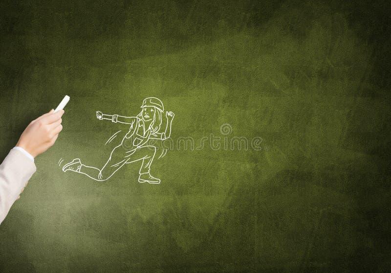 Caricature de femme de constructeur illustration libre de droits