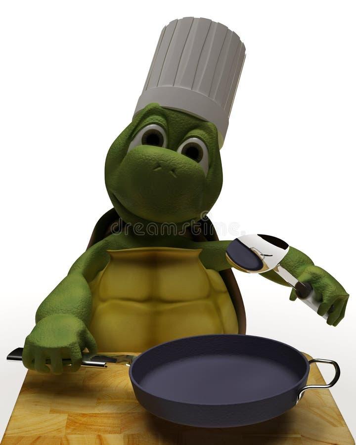 Caricature de tortue en tant que chef illustration stock