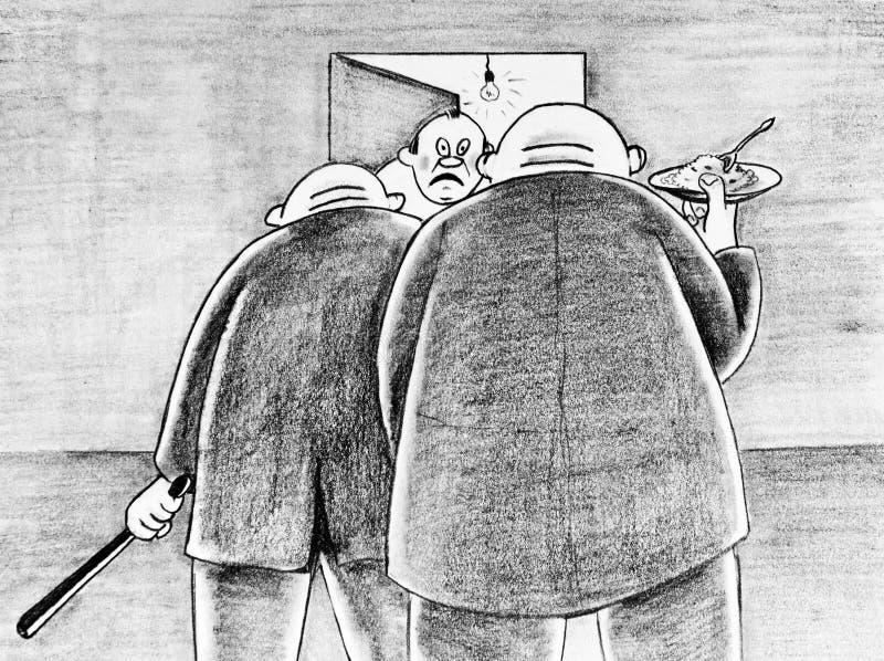 Caricature dessinée avec un crayon Incitations pour l'acheteur illustration stock