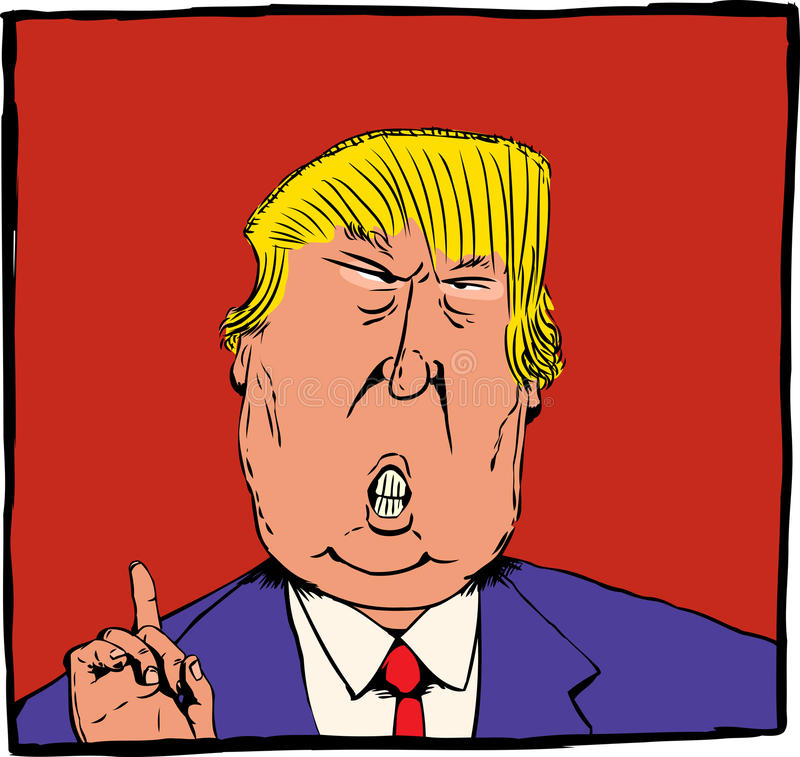 Caricature of Donald Trump over red. Dec. 27, 2016. Cartoon caricature of President Elect Donald Trump with index finger pointed up over red vector illustration