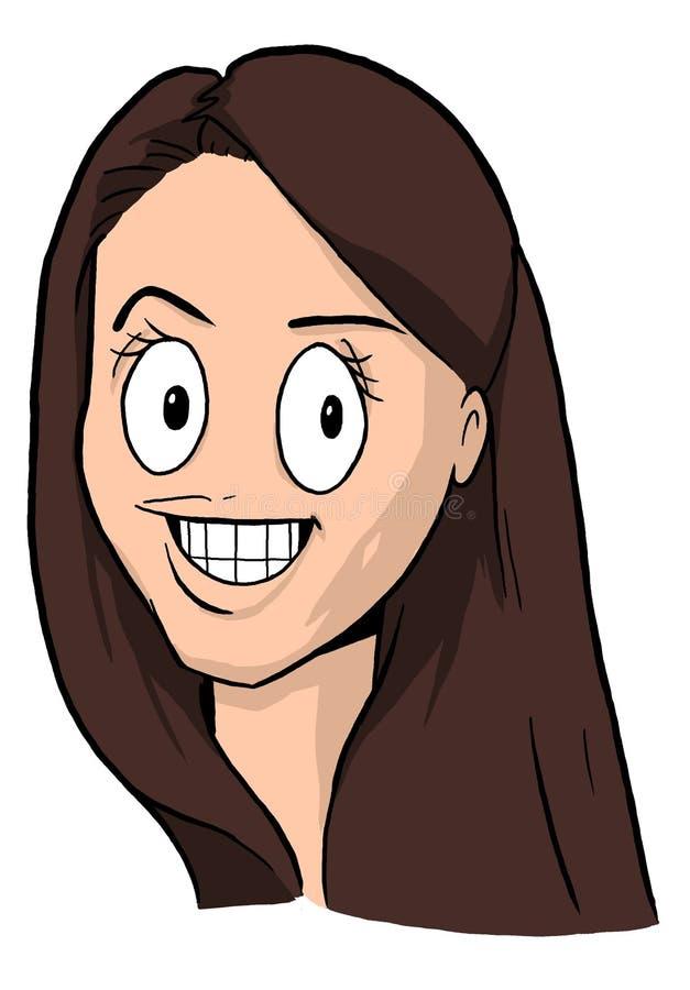 Cartoon girl with brown hair