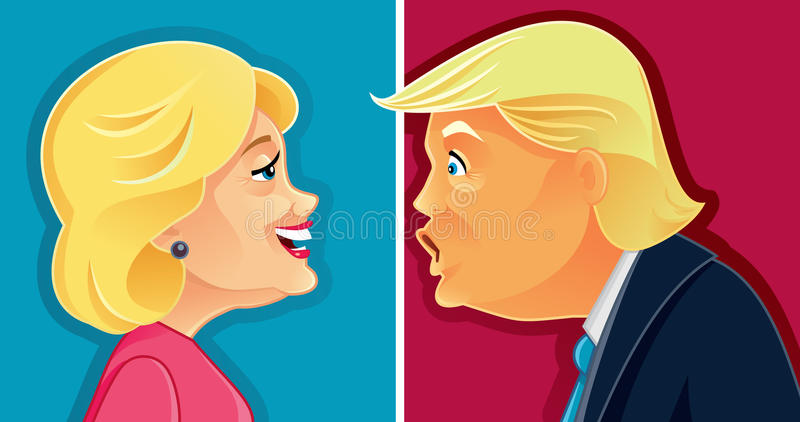 Caricature of Hillary Clinton and Donald Trump. Funny illustration of the American Presidential Candidates in Election Debate stock illustration