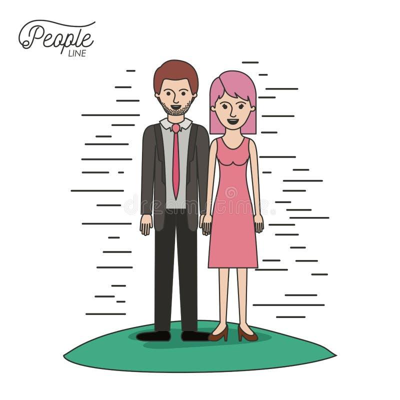 Caricature la linea uomo barbuto in vestito convenzionale e donna della gente delle coppie con i capelli di scarsità diritti in v illustrazione vettoriale