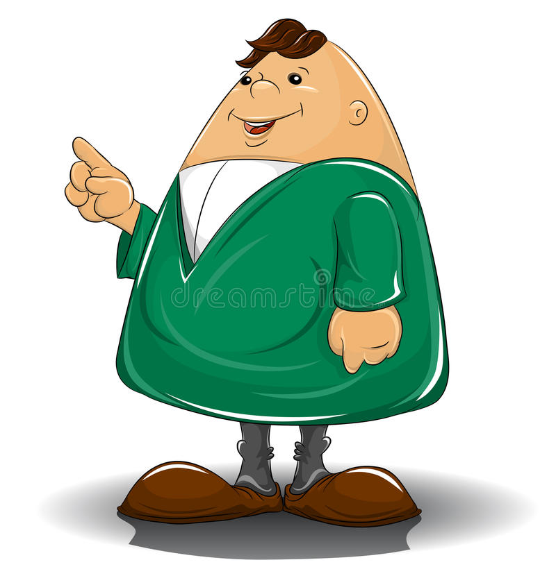Caricature Man Pointing Out Stock Image