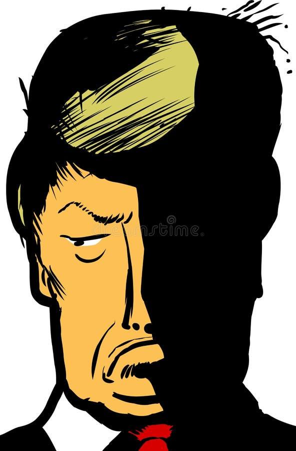 Caricature portrait of Donald Trump pouting. Dec. 12, 2016. Caricature close up illustration of Donald Trump pouting stock illustration