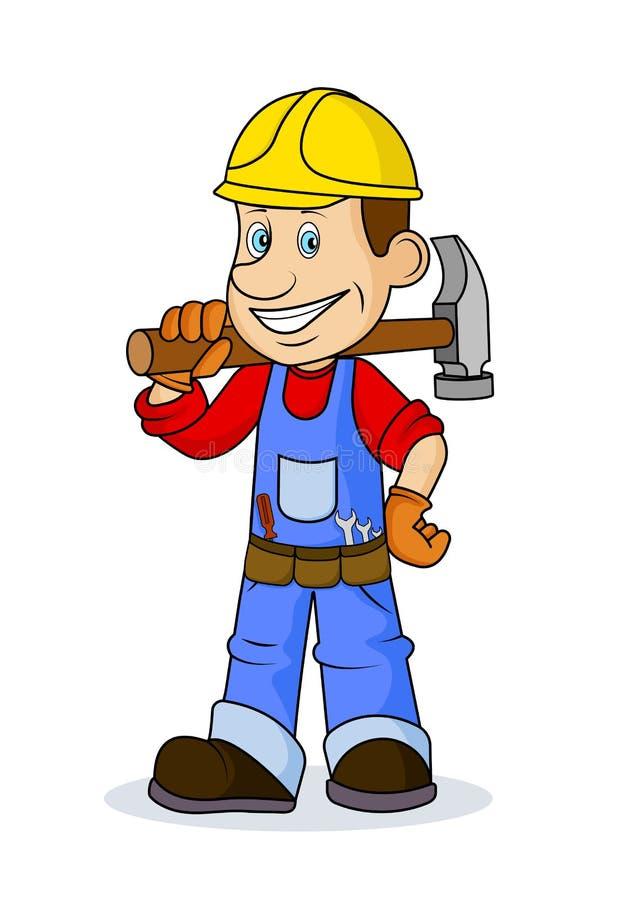 Caricature ridicule le travailleur gai avec l'outil dans des mains illustration de vecteur