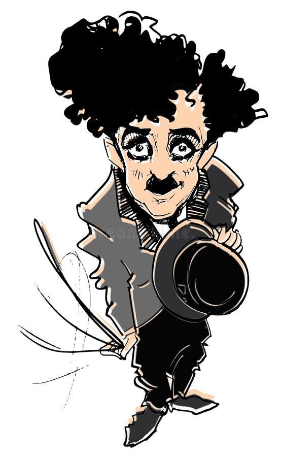 Caricature series: C.Chaplin. Hand drawn caricature of C. Chaplin