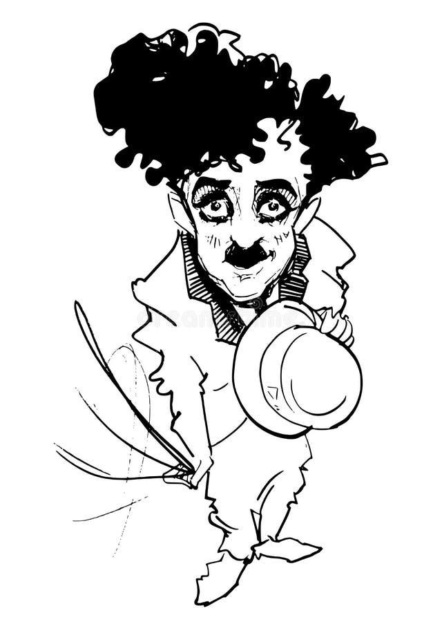 Caricature series: caricature. Hand drawn caricature of C. Chaplin /Charlot