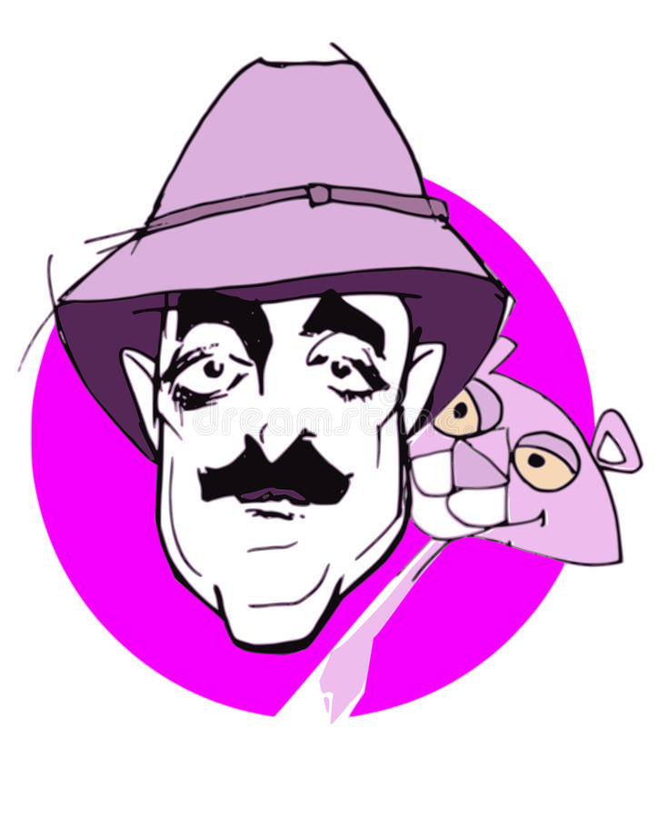 Caricature series: Peter Sellers. Hand drawn caricature of inspector Clouseau (Peter Sellers) and pink panther