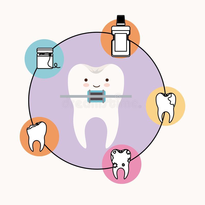 Caricature tooth with brace dental care with happiness expression with circular frame icons dental care on white. Background vector illustration vector illustration
