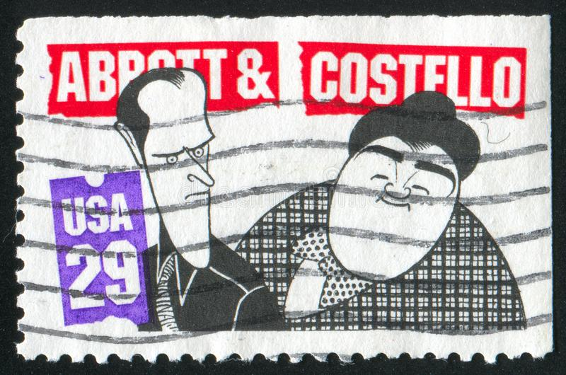 Caricature. UNITED STATES - CIRCA 1991: stamp printed by United States of America, shows Bud Abbot and Lou Castello, circa 1991 royalty free stock images