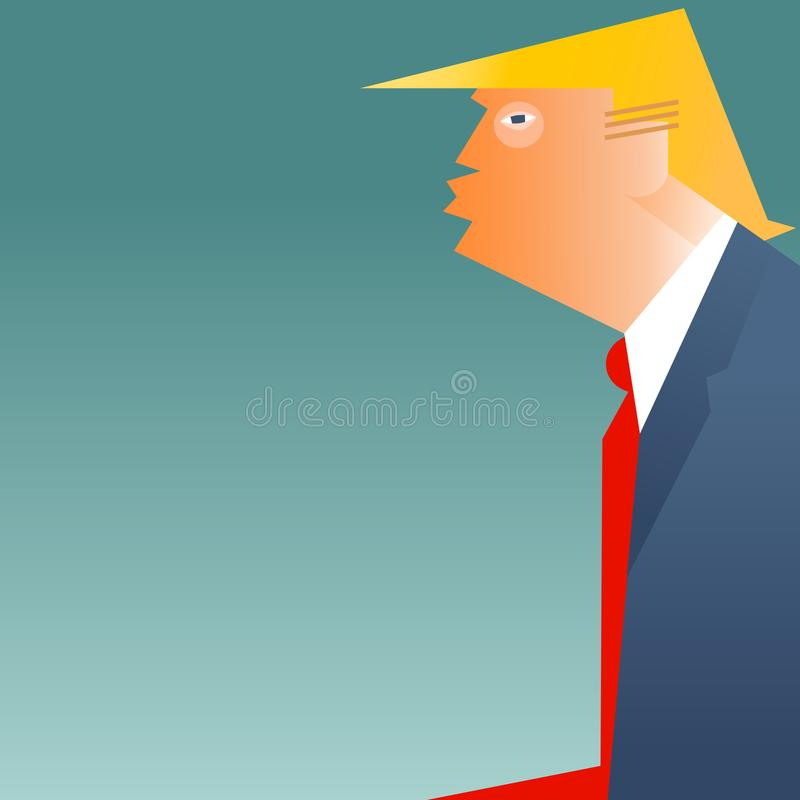 Caricature of United States president Donald Trump. In profile with space for your text vector illustration