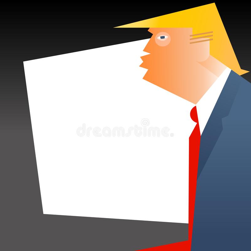 Caricature of United States president Donald Trump. In profile with space for your text royalty free illustration