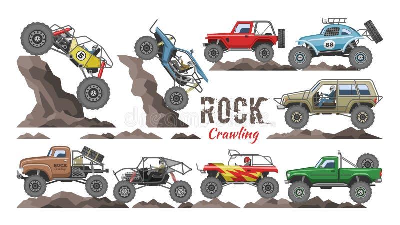 Caricature vectorielle vectorielle de camion monstre véhicule de roche rampant dans les rochers et transport extrême voiture roch illustration stock