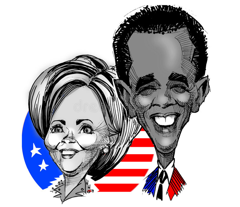 Caricatures - Clinton / Obama. Caricature of Hillary Clinton and Obama Barak