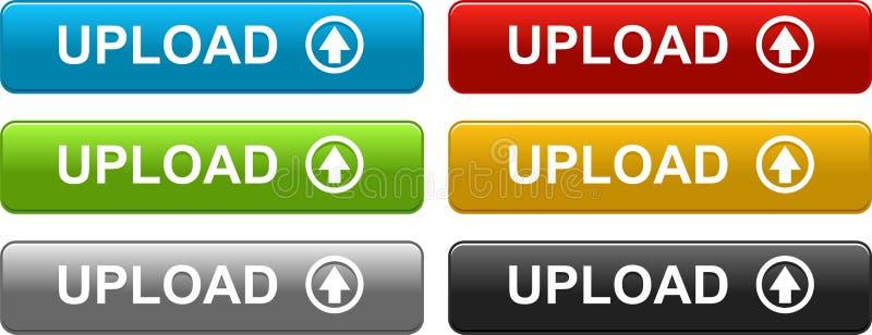 Carichi i bottoni di web variopinti su bianco illustrazione vettoriale