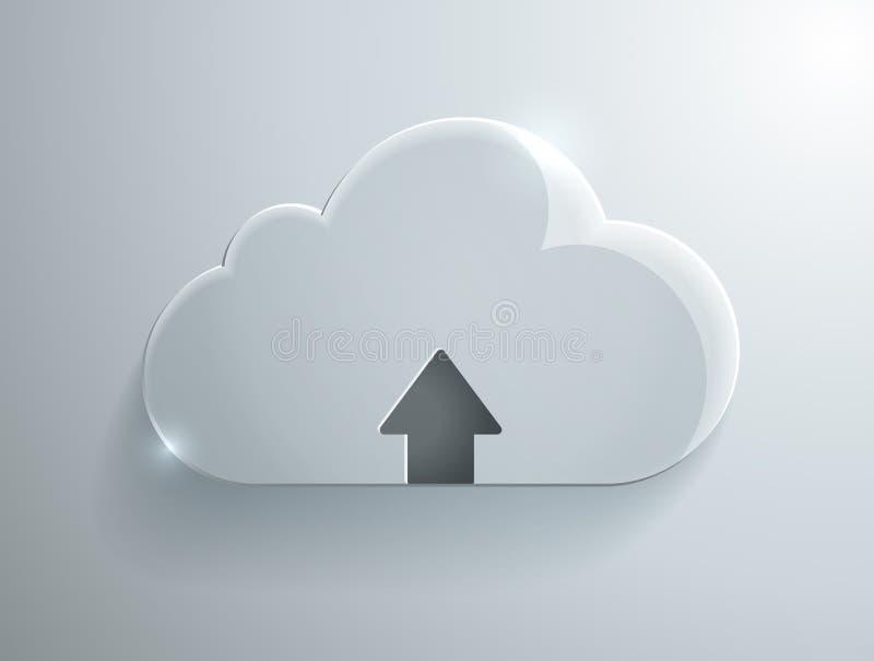 Carichi l'icona di vetro della nuvola illustrazione vettoriale