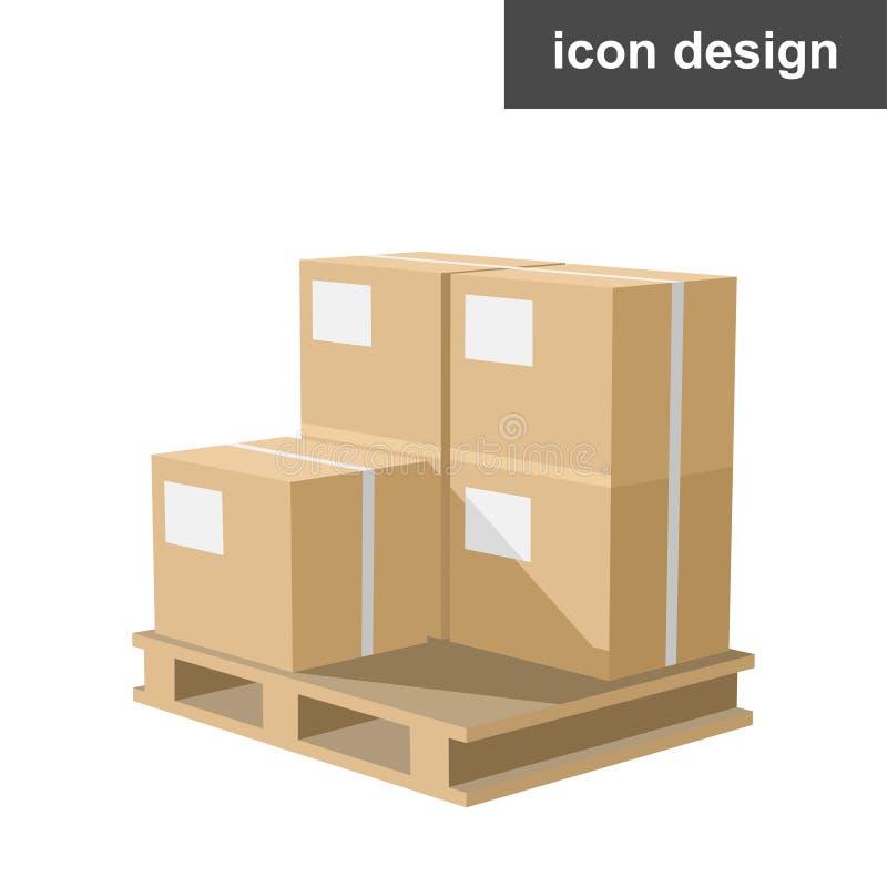 Carico isometrico delle scatole dell'icona immagini stock