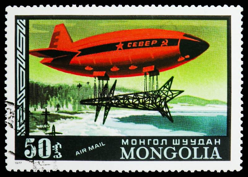 Carico resistente del nord e russo, posta aerea, storia del serie dei dirigibili, circa 1977 fotografia stock