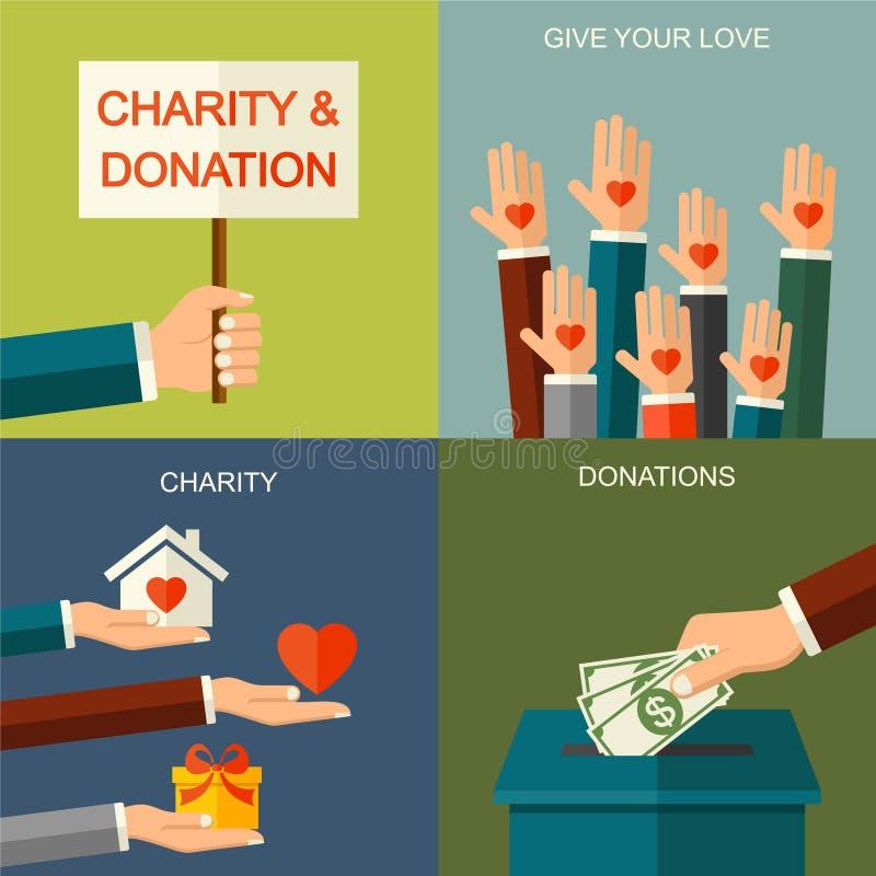 Caridad del vector y concepto de la donación Ejemplo de la bandera con los iconos sociales y los símbolos, estilo plano de la car libre illustration