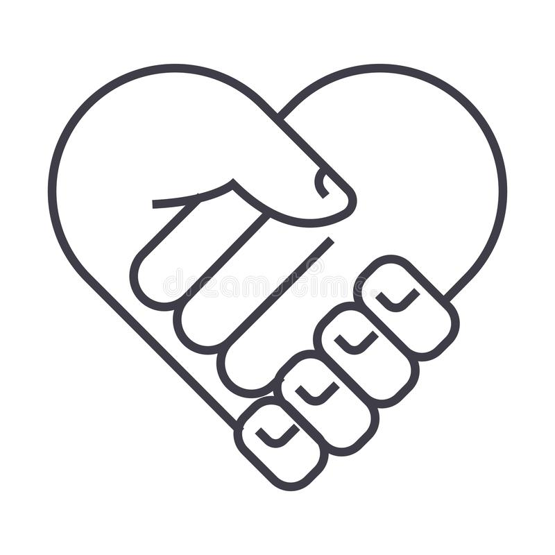 Caridade, cabeça do apoio, forma do coração, linha ícone do vetor da medicina, sinal, ilustração no fundo, cursos editáveis ilustração royalty free