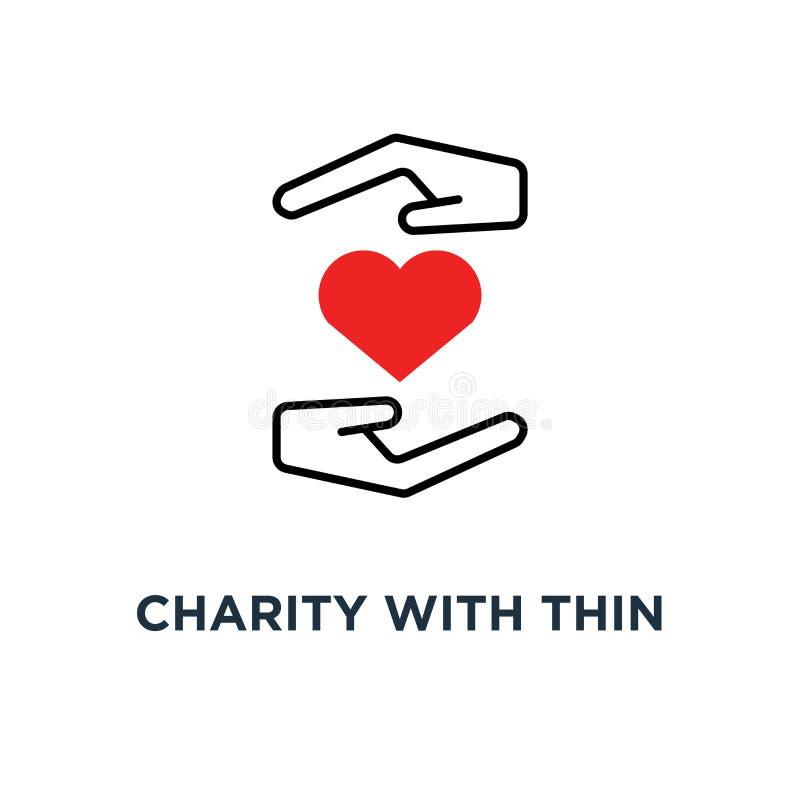 caridade com ícone fino da mão e do coração, símbolo dos braços fornecedores da mulher ou do homem e de crowdfunding para a tendê ilustração royalty free