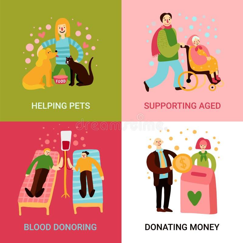 A caridade datilografa o conceito de projeto 2x2 ilustração do vetor