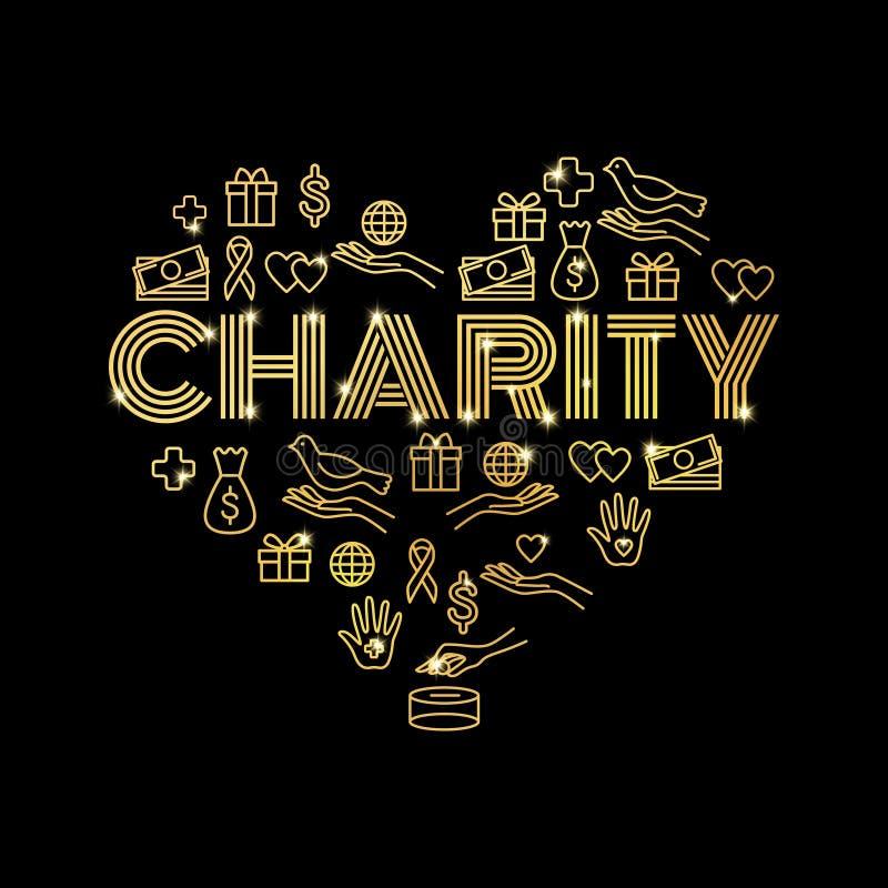 Caridade e doações Ajuste com linha fina dourada ícones na forma do coração ilustração do vetor