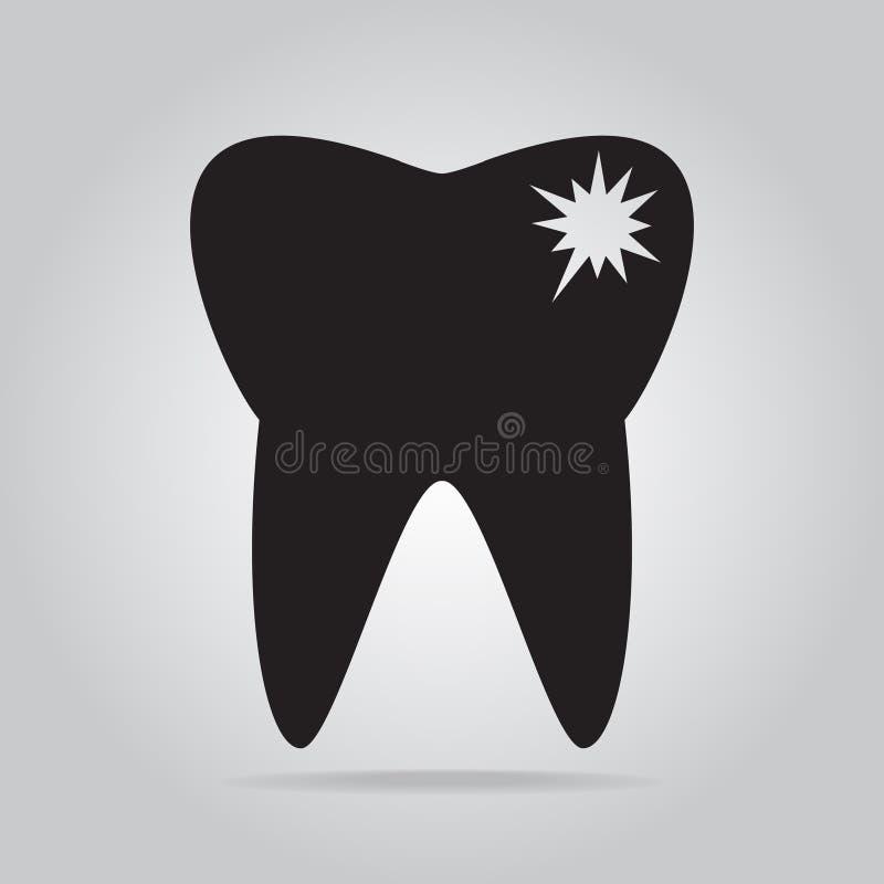 Carie del diente, icono de la caries stock de ilustración