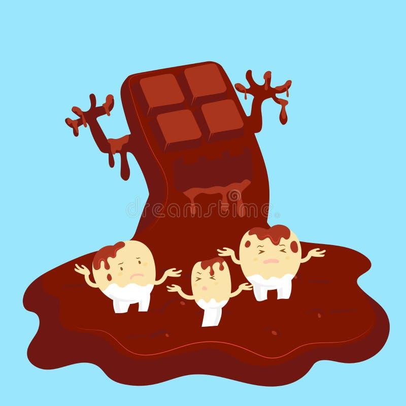 Carie dentaire avec du chocolat illustration stock