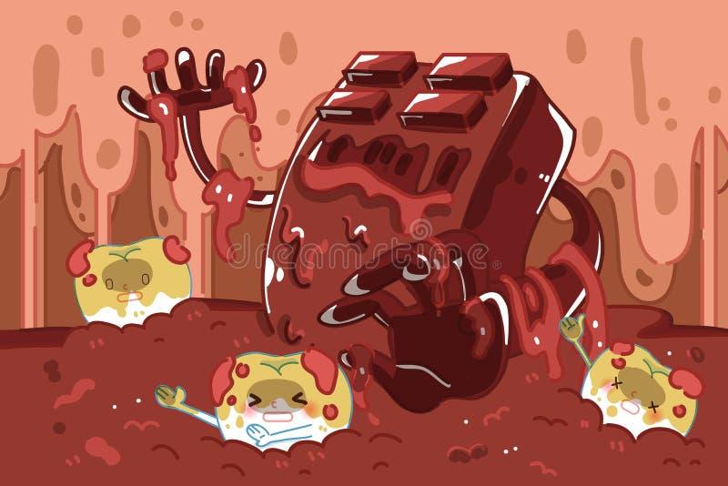 Carie dentaire avec du chocolat illustration libre de droits