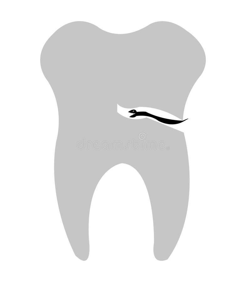 Carie que come un diente, aislado en el fondo blanco libre illustration