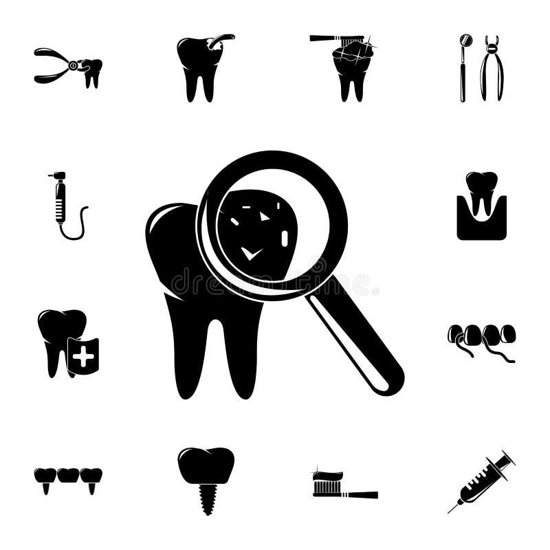carie sull'icona dei denti Insieme dettagliato delle icone dentarie Segno premio di progettazione grafica di qualità Una delle ic illustrazione vettoriale
