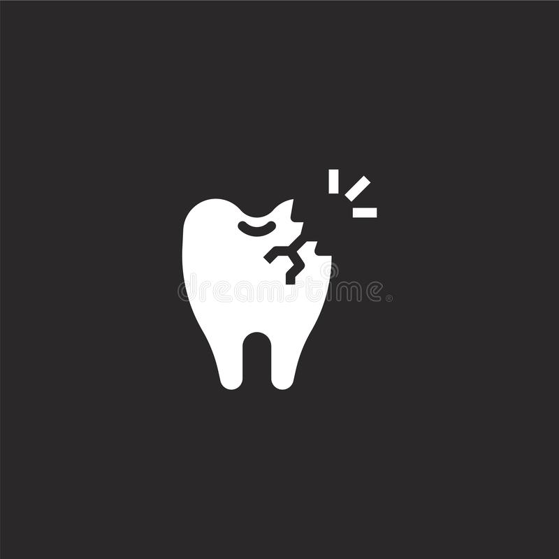 Caries icon. Filled caries icon for website design and mobile, app development. caries icon from filled dental collection isolated. On black background royalty free illustration