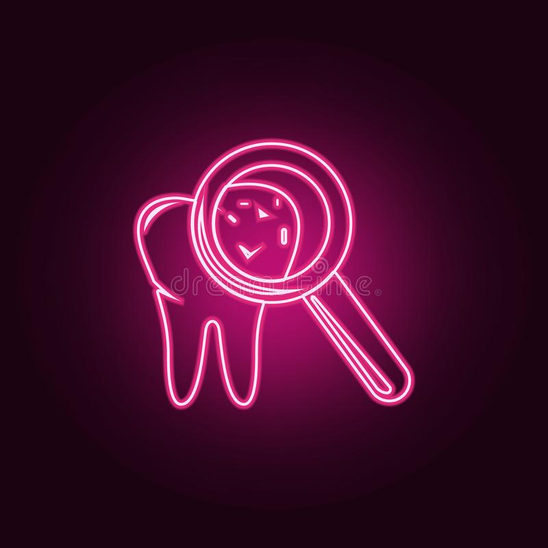 Caries on teeth icon. Elements of Dental in neon style icons. Simple icon for websites, web design, mobile app, info graphics. On dark gradient background vector illustration