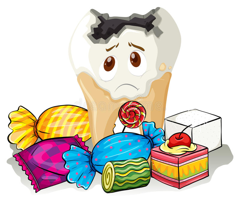Caries y caramelo dulce libre illustration