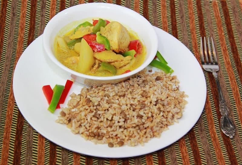 Caril da galinha & arroz integral imagens de stock royalty free
