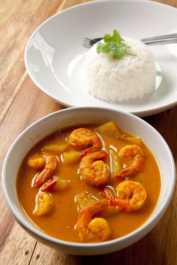 Caril do camarão com arroz. imagem de stock