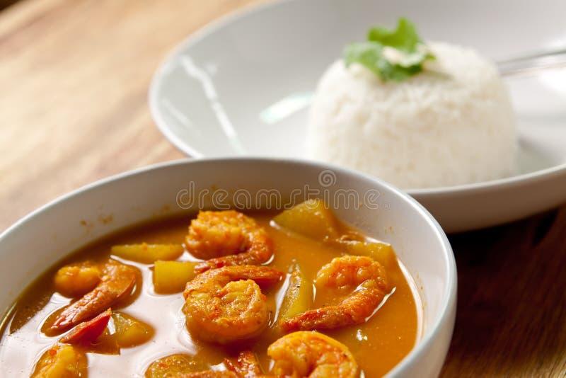 Caril do camarão com arroz. fotos de stock royalty free