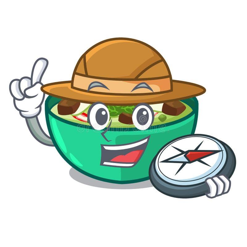 Caril do verde do explorador na forma de caráter ilustração stock