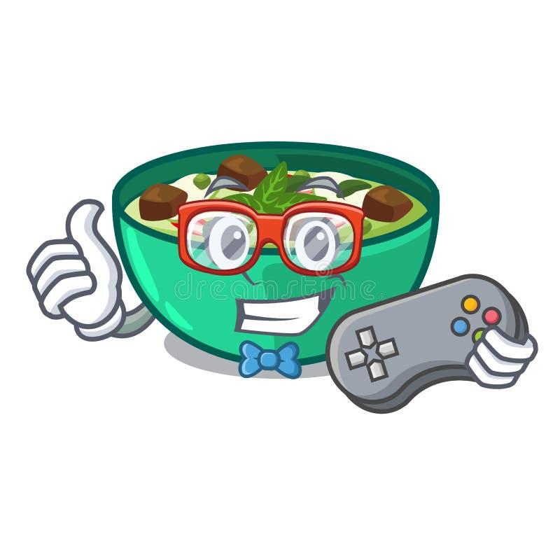 Caril do verde do Gamer na forma de caráter ilustração do vetor