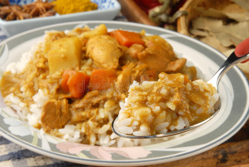 Caril e arroz da galinha fotos de stock royalty free