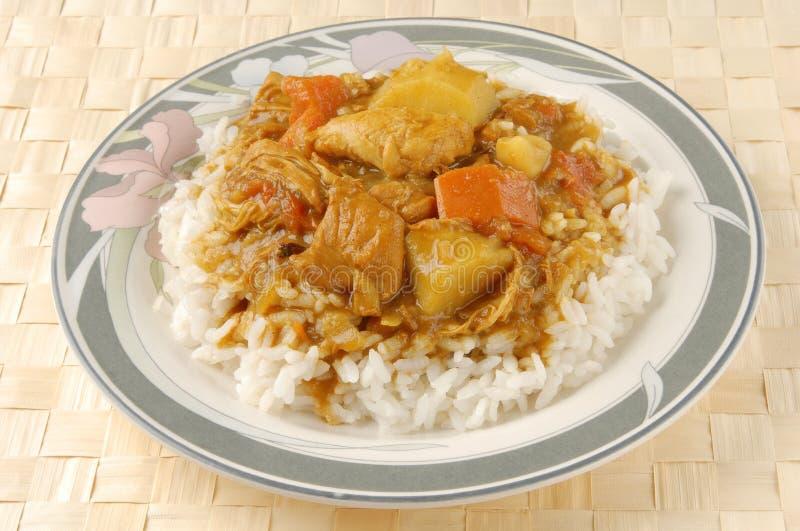 Caril e arroz da galinha fotografia de stock royalty free