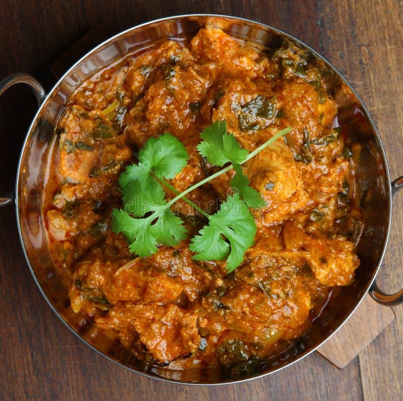 Caril indiano de Saag Massala da galinha foto de stock royalty free