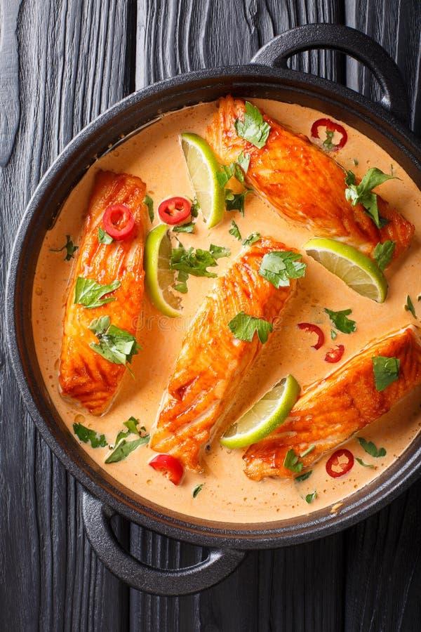 Caril picante tailandês do coco com close-up dos salmões em uma frigideira Vista superior vertical fotografia de stock royalty free