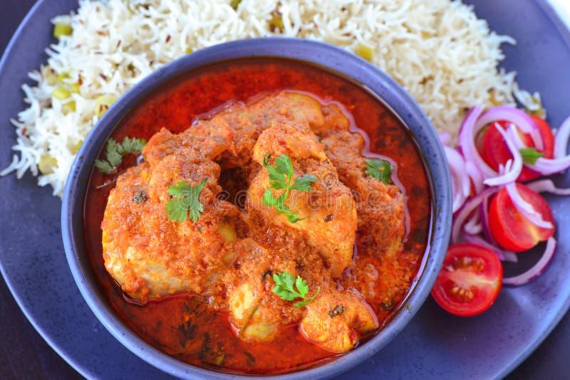 Caril, salada e arroz indianos da galinha da refeição fotografia de stock