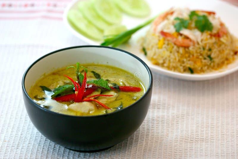 Caril verde da carne de porco, culinária tailandesa imagem de stock