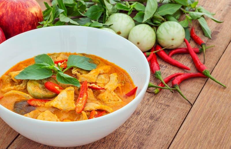 Caril vermelho da carne de porco (Panang) com vegetal, alimento tailandês fotos de stock royalty free