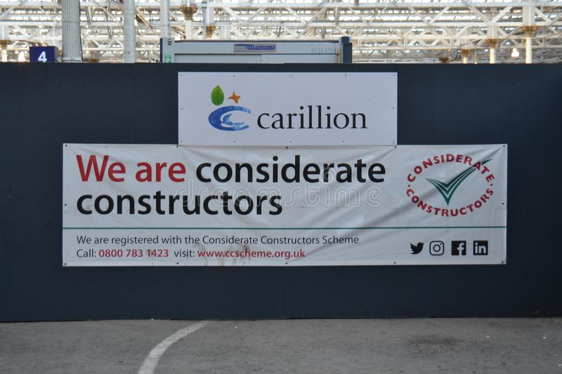 Carillion Considerate Constructors. Carillion are considerate contractors. Will the banks and UK government be as considerate to keep them afloat royalty free stock images