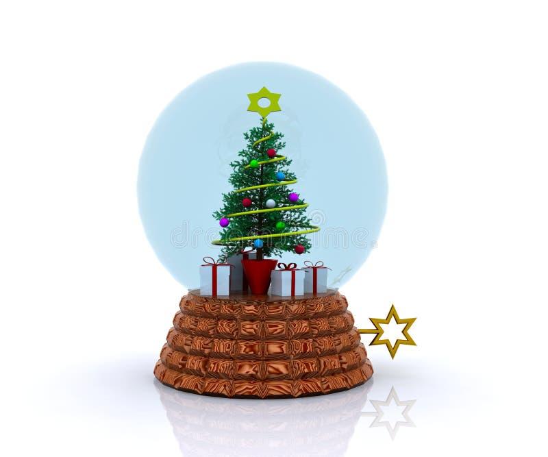 Carillon avec l'arbre et les cadeaux de Noël illustration de vecteur